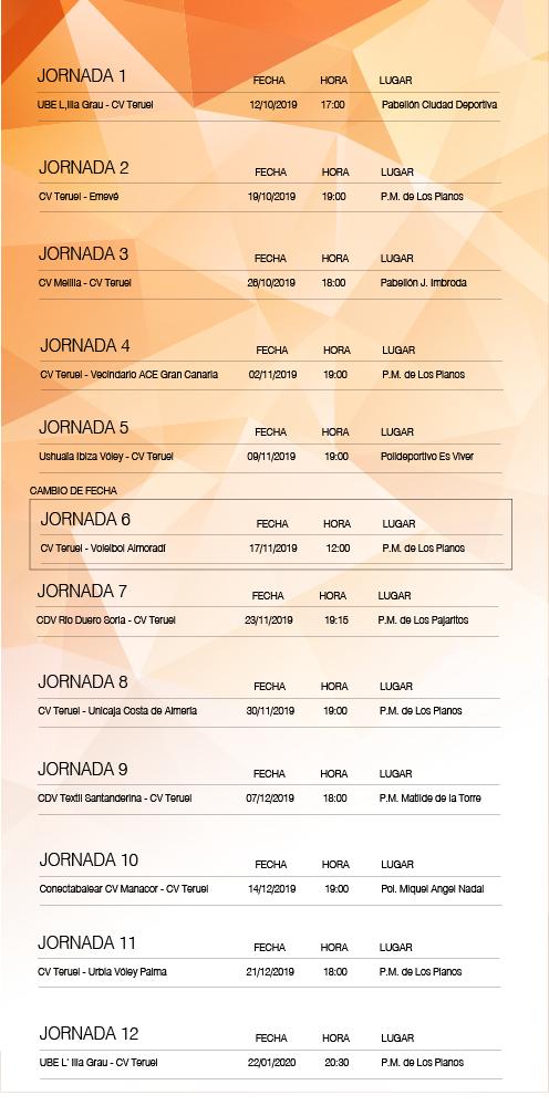 cambio de horario en la agenda del voleibol teruel