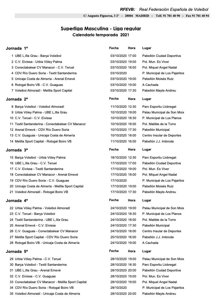 calendario 2020/2021 cvteruel 1
