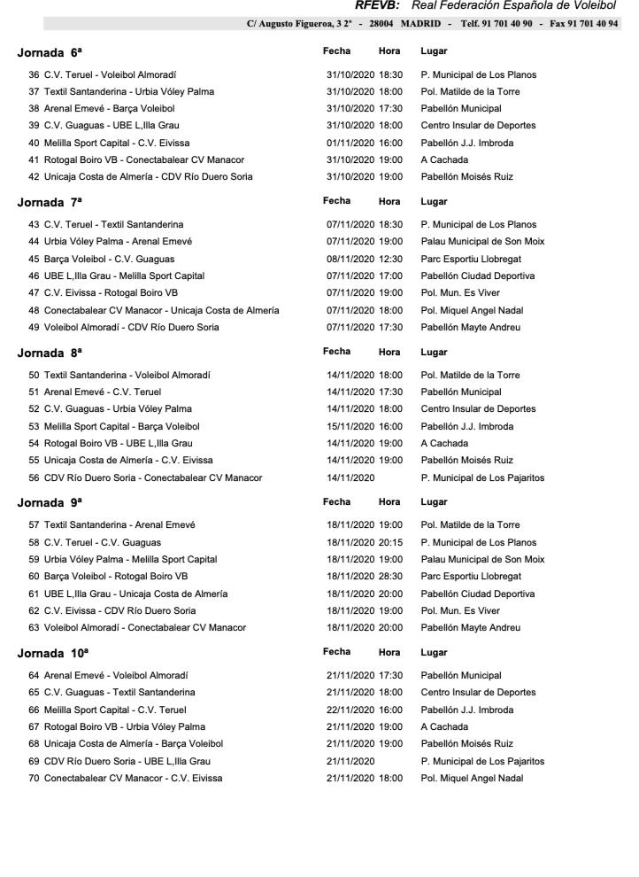 calendario 2020/2021 cvteruel 2